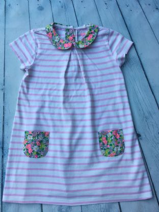 Mini Boden peter floral pan collar dress with matching pants and pink and white stripes age 2-3